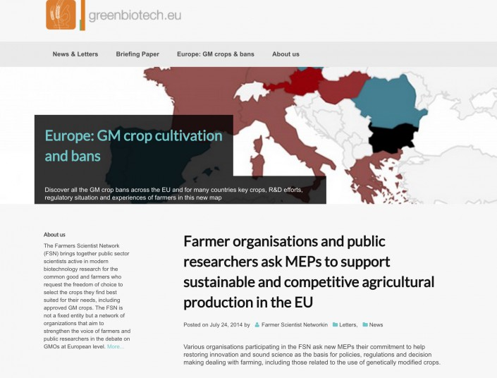 "A small project website for the farmer-scientist network with background information to the briefing paper ""EU GMO Policies, Sustainable Farming And Public Research"", which is produced by farmers organisations and public-sector scientists."